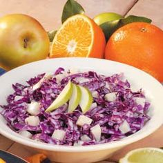 Red Cabbage Apple Slaw - could be (E) if using fat free Greek yogurt, and light mayo