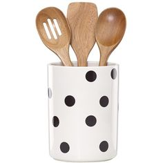 kate spade new york 'all in good taste' 'deco' utensil crock & wooden... (52 AUD) ❤ liked on Polyvore featuring home, kitchen & dining, kitchen gadgets & tools, fillers, wood utensil caddy, kate spade, wooden utensil holder, wooden spoons and wood utensil holder