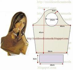 Com as medidas da figura desenhe o molde de saco. Depois de desenhar o molde de saco corte o tecido exterior e interior. Cole entretela no tecido exterior