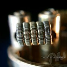 "24g Kanthal Cored fused  36g kanthal   36gN80 parallel clapton  Dual 5 wrap around 1/8"" bit  0.13ohm resistance on the El Cabron RDA  Had never tried a fused clapton with Kanthal core so wanted to test it out. Surprisingly a warmer vape than using nichrome 80  #Coilporn #coilart #twistedmesses #elcabronrda #dripclub #Padgram"