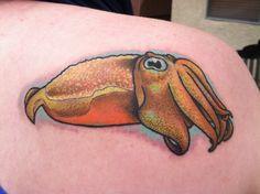 Colorful, realistic cuttlefish tattoo. #Mollusclove