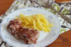 Rollitos de filetes de cordero rellenos con salsa barbacoa   Comer con poco