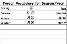 Korean Vocabulary Words for Seasons of the Year - Learn Korean