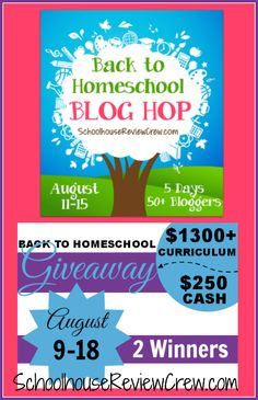 Next week is our annual 5 Days of Back to Homeschool Blog Hop! We have more than 50 bloggers participating this year, AND a HUGE mega-giveaway worth more than $1300 including $250 in cash! The giveaway has already begun! #homeschool #bloghop #giveaways
