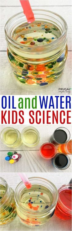 Science Experiments at Home for Kids on Frugal Coupon Living. Have fun with a creative and colorful Oil and Water activity! Kids Science Experiments at Home Kid Science, Science Activities For Kids, Preschool Science, Science Fair, Preschool Activities, Summer Science, Science Chemistry, Camping Activities, Physical Science
