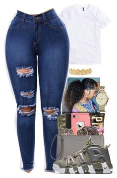 A fashion look from February 2018 featuring basic t shirt, high waisted denim jeans and dial watches. Browse and shop related looks. Swag Outfits For Girls, Cute Teen Outfits, Teenager Outfits, Nike Outfits, Teen Fashion Outfits, Cool Outfits, Vans Outfit, Baddie Outfits Casual, Stylish Outfits