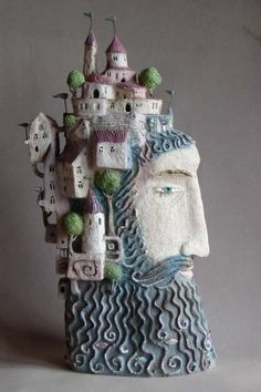 "blue - head with houses - ""Cliff"" - figurative ceramic - Elya Yalonetskaya Ceramic Houses, Ceramic Figures, Ceramic Clay, Ceramic Pottery, Cerámica Ideas, Paperclay, Clay Projects, Clay Art, Home Art"