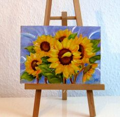 """Sunflower Delight"" 5x7, painting by artist Meltem Kilic"