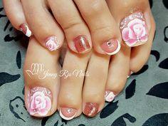 Pedicure Designs, Pedicure Nail Art, Toe Nail Designs, Nail Polish Designs, Beautiful Toes, Pretty Toes, Pink Toes, Toenails, Pedicures