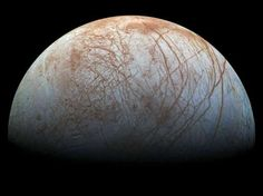 Europa, moon of Jupiter       Jupiter's ice-covered moon, on Nov. 21, 2014. Scientists have produced a new version of what is perhaps NASA's best view of Jupiter's ice-covered moon, Europa. The mosaic of color images was obtained in the late 1990s by NASA's Galileo spacecraft.