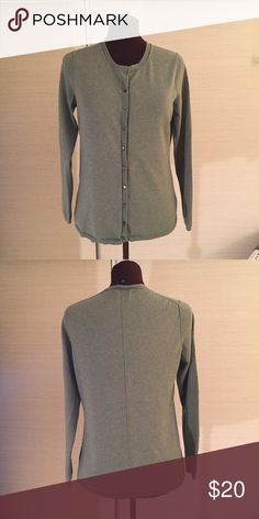 Cardigan by Banana Republic EUC. COLOR: Sage. MATERIAL:  39% silk, 32% cotton, 25% nylon, 4% Lycra spandex. MEASUREMENTS: Shoulder Width: 13-1/2 inches, Back Length- 24-1/2 inches, Chest Front from Side Seam to Side Seam - 18-1/2 inches. Banana Republic Sweaters Cardigans