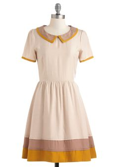Plaza Boutique Dress by Dear Creatures - Cream, Yellow, Brown, Peter Pan Collar, Casual, Scholastic/Collegiate, A-line, Short Sleeves, Work, Fall, Collared, Fit & Flare, Mid-length
