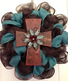 Pretty mesh turquoise and brown cross wreath