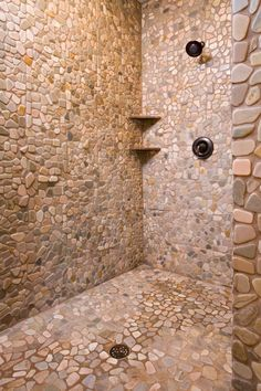 Stone shower stall; so cool!