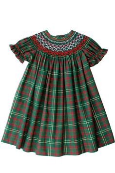Girls Christmas Smocked Bishop Dress in Green Plaid with Gold Smocked Baby Clothes, Girls Smocked Dresses, Little Girl Outfits, Kids Outfits, Punto Smok, First Birthday Dresses, Girls Christmas Dresses, Tartan Dress, Jumpsuit Pattern
