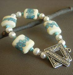Aqua Lampwork Bracelet with Pearls