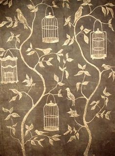 Another great design to use with MagLiner and Custom Magnets. Swedish Interiors by Eleish van Breems: Eva Badenhorst Wall Murals Chinoiserie Wallpaper, Fabric Wallpaper, Dragons, Motifs Textiles, Swedish Interiors, Swedish Style, Bird Cages, Chalkboard Art, Chalk Art