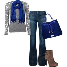 I need a silvery shirt, a blue scarf, and a blue purse so I can wear this outfit!