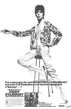 "Full-page RCA advertisement appearing in the UK music magazine Melody Maker. This advert promotes the just released Ziggy Stardust album and the forthcoming 8 July 1972 concert at The Royal Festival Hall, London. This image of Bowie posing with arm outstretched (with cigarette!) was often used and became synonymous with ""Ziggy Stardust""."