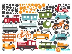 Transportation Theme Fabric Wall Decals for Nursery by SunnyDecals