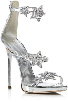 Ad: Giuseppe Zanotti Women's Strappy Leather & Crystal Embellished Star High Heel Sandals, wedding shoes, wedding heels, brides shoes, shoes for bride, silver wedding shoes, silver wedding heels, sparkle wedding shoes, #weddingshoes #afflink #giuseppezanottiheelswedding