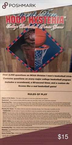 New in package Basketball trivia game Sports fan hoop hysteria challenge basketball trivia game, over 2000 questions on NCAA division one men's basketball trivia contains questions on every major College basketball program,includes the scoreboard, a 60 second timer, and A custom die, scores like a real basketball game Sports hysteria game Other