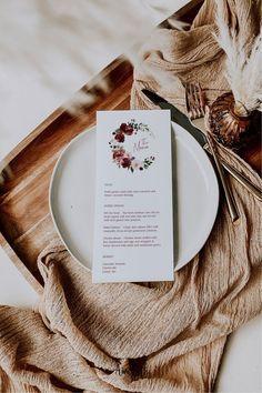Burgundy Wedding Menu Card Template - Burgundy Party Theme #burgundywedding #maroonwedding #merlotwedding #marsalawedding #burgundyflorals #maroon #burgundy #wedding #weddinginspo #bridetobe #weddingdecor #bridalshowerdecor #burgundybridal #template #printable #diy #editable #personalized #winterwedding #fallwedding #autumnwedding #weddingmenu #menu #menutemplate #menucard
