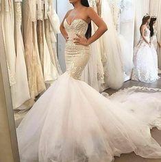 Sleeveless Mermaid Wedding Dresses with Lace Bridal Gowns Custom Size 2 4 6 8 10 Custom Wedding Dress, Wedding Bridesmaid Dresses, Cheap Wedding Dress, Dream Wedding Dresses, Wedding Attire, Bridal Dresses, Lace Wedding, Wedding Beach, Modest Wedding