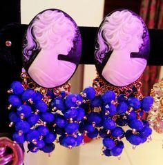 Earrings Royal blue + Cameo