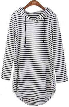 Black White Striped Hooded Long Sleeve