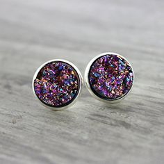 Handmade Jewelry Metallic Purple Faux Druzy Silver-Tone Studs >>> Click image to review more details.