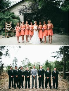 black and peach wedding party #bridesmaids #groomsmen #weddingchicks http://www.weddingchicks.com/2014/02/05/california-rustic-farm-wedding/