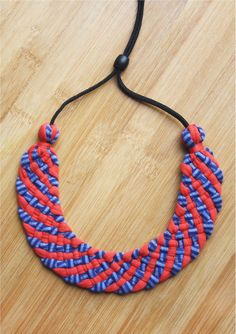 Candy Striped Woven Statement Up-cycled Collar Necklace