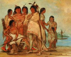 George Catlin (American artist, 1796-1872) Du-cór-re-a, Chief of the Tribe, and His Family    New Jersey born George Catlin (1796-1872) is...
