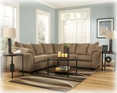 Darcy Contemporary Mocha Fabric Cushion Back Sectional
