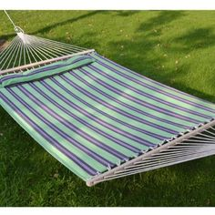 Hammock Double Size Quilted Fabric Heavy Duty Sleep Bed W/Pillow + wooden stick-stripe-purple-green color