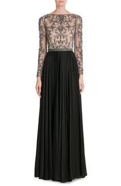 Embellished Silk Floor Length Gown look detail, vestido de renda , vestido de festa renda, lace gown, long sleeve lace dress, vestido de festa manga longa