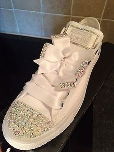 32234591321 Crystal Bling Wedding Casual Mono White Converse Sizes UK 4-9 Badazzled  Converse