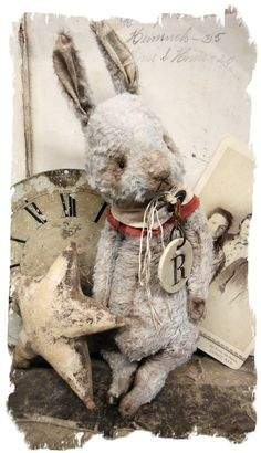"Image of NEW DESIGN * Old Hare * 10"" Vintage Style Frumpy Rabbit * By Whendi's Bears"