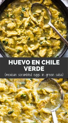 You'll never go back to regular scrambled eggs after trying this Huevo en Chile Verde recipe! Scrambled eggs simmered in fresh salsa verde are fresh, tangy, and a little spicy. Perfect for breakfast or brunch! Mexican Breakfast Recipes, Mexican Food Recipes, Vegetarian Recipes, Mexican Brunch, Ethnic Recipes, Bhg Recipes, Brunch Recipes, Brunch Ideas, Yummy Recipes