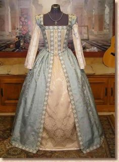 Medieval and Renaissance Dresses.blue and yellow Tudor renaissance dress Mode Renaissance, Costume Renaissance, Medieval Costume, Renaissance Clothing, Renaissance Fashion, Medieval Dress, Historical Clothing, Tudor Costumes, Period Costumes