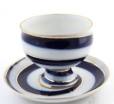 RUSSIAN Imperial Lomonosov Porcelain Tea cup & saucer Serpentine 22k Gold Russia