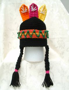 Ravelry: Lil Indian Boy/Girl Hat pattern by Debbie Wisely of QT Patootie Crochet Crochet Kids Hats, Crochet Cap, Crochet Beanie, Love Crochet, Crochet Crafts, Yarn Crafts, Crochet Clothes, Crochet Hooks, Crochet Projects