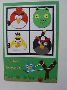 Angry Birds card made with punches