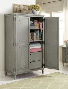 Aviana Grey Armoire by Homelegance - Delivered directly to your home with no shipping charges from Coleman Furniture. Tv Armoire, Antique Armoire, White Armoire, Bedroom Themes, Girls Bedroom, Bedroom Decor, Bedroom Ideas, Bedrooms, Clothes Drawer Organization