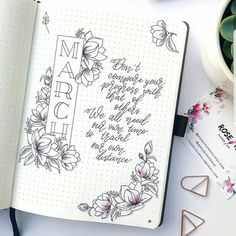 """March cover spread by Rose @rosekjournals """"I started bullet journaling when all other planners and diaries failed me. I love the mix of…"""