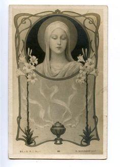 MADONNA w/ Lily ART NOUVEAU by AZAMBRE Vintage PC | eBay