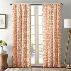 Delray Diamond Window Curtain Panel in Orange