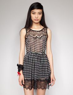 Pixie Market $44 Houndstooth Lace Dress   Gorgeous sheer chiffon houndstooth dress featuring intricate black lace details along the hem and neck. Has hidden back zipper closure and a deep V back. Partially lined. 100% polyester. Model is wearing a size small.