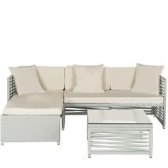 Safavieh Likoma Wicker 3-piece Outdoor Furniture Set (Gray Beige) ($1,500) ❤ liked on Polyvore